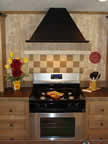 Designer Range Hood With Ceramic Backsplash